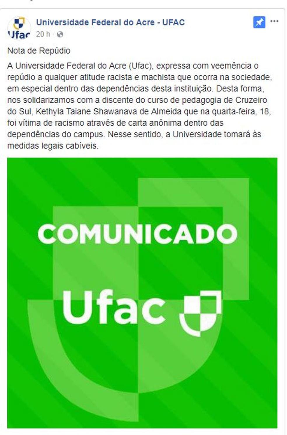 Ufac usou perfil oficial para divulgar nota de repúdio  (Foto: Reprodução/Facebook)