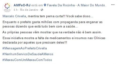 Publicação da AMFaC-RJ rebate a propaganda da Prefeitura do Rio