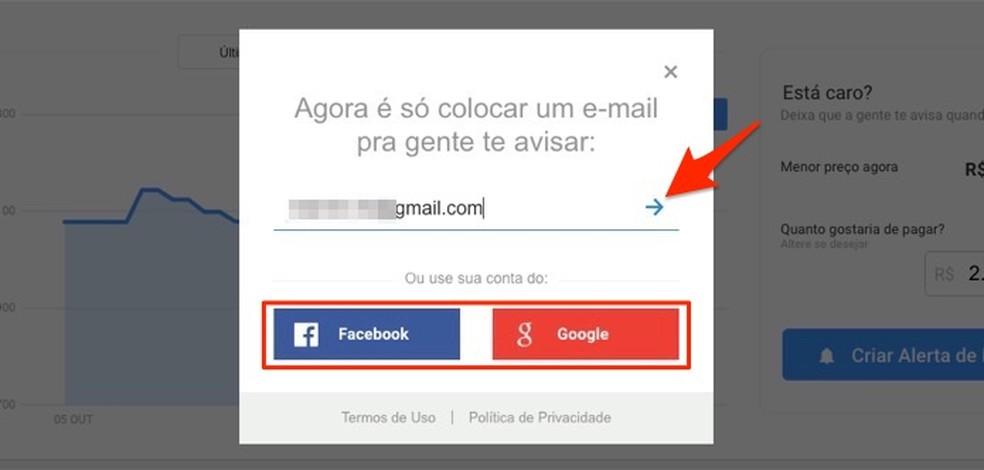 Ação para vincular uma conta de rede social e um e-mail para receber alertas de preços do Zoom — Foto: Reprodução/Marvin Costa