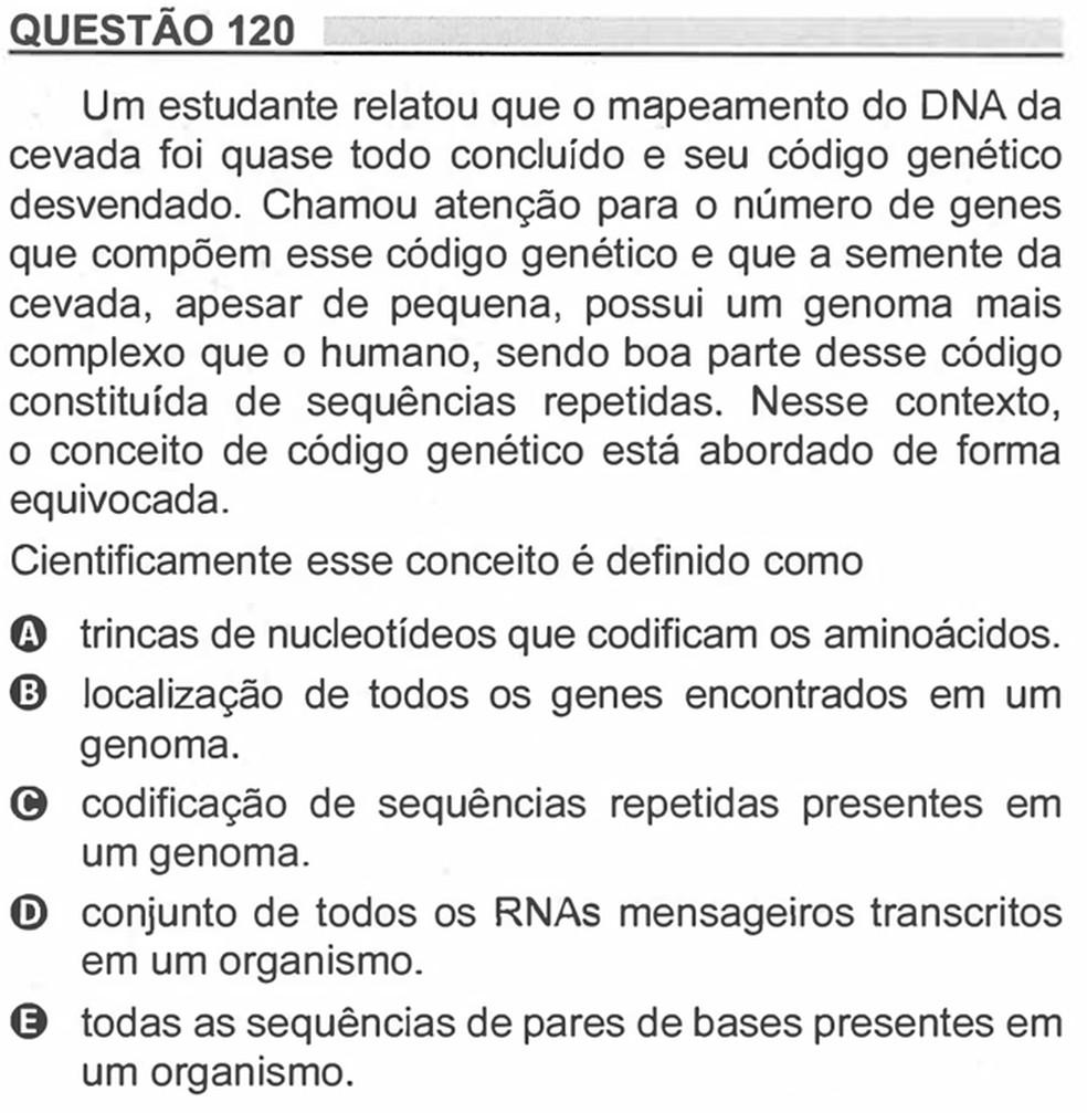 Enem 2018 - Prova Amarela - Pergunta 120 (Ciências da natureza e suas tecnologias) — Foto: Reprodução