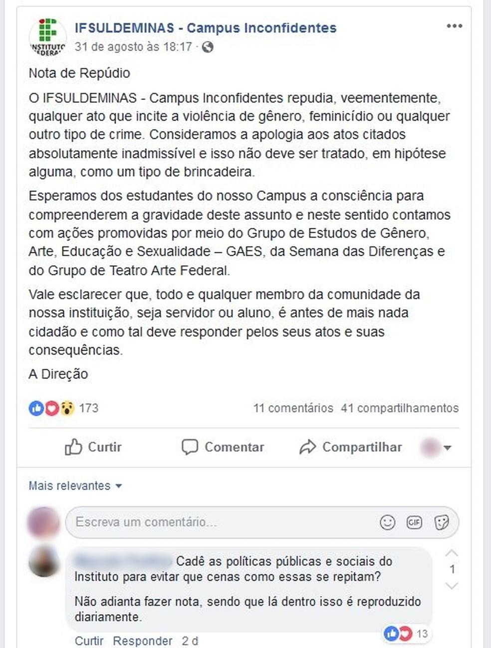 Instituto Federal divulgou nota nas redes sociais sobre caso em Inconfidentes (MG) (Foto: Reprodução/Facebook)