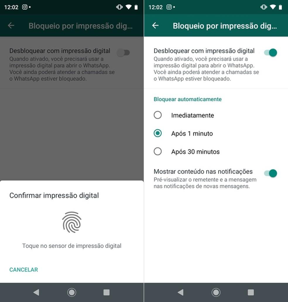 Configurações do bloqueio por digital — Foto: Reprodução/Helito Beggiora