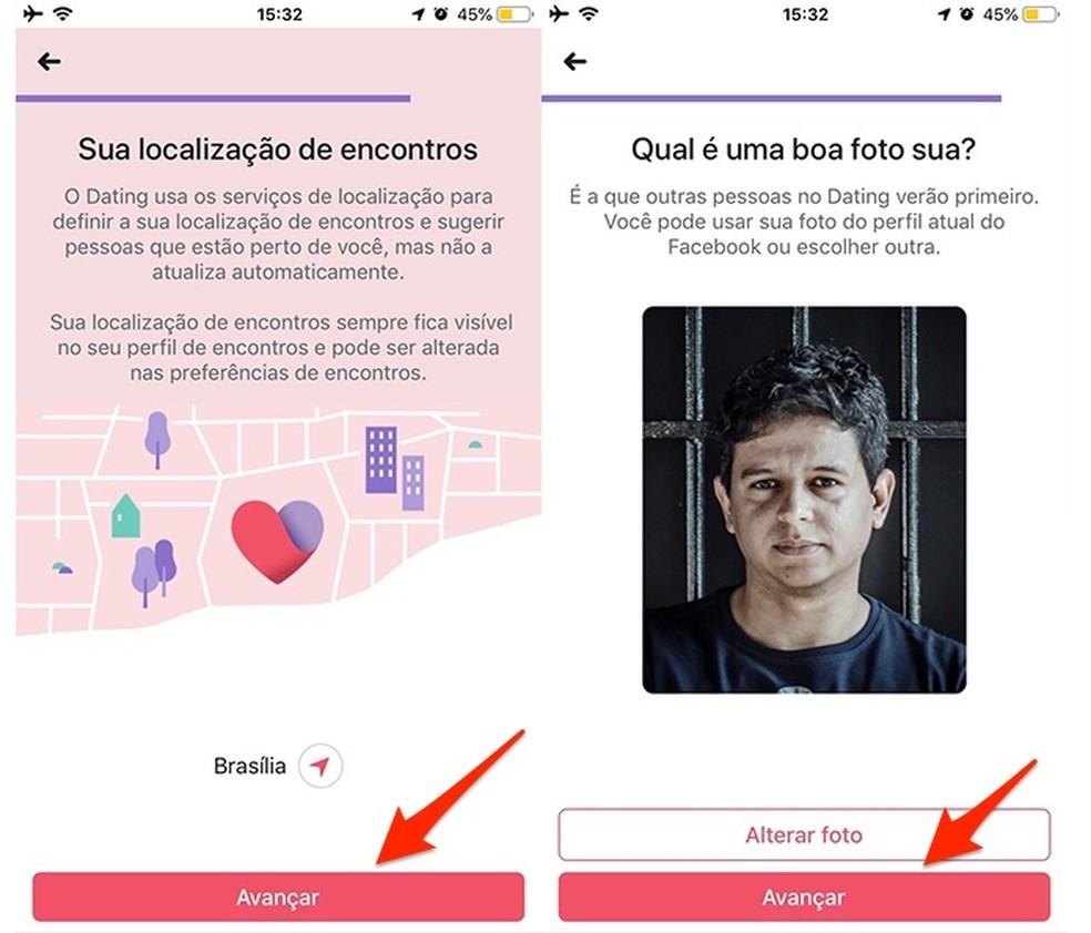 Ação para definir localização e foto de perfil no Facebook Dating — Foto: Reprodução/Marvin Costa