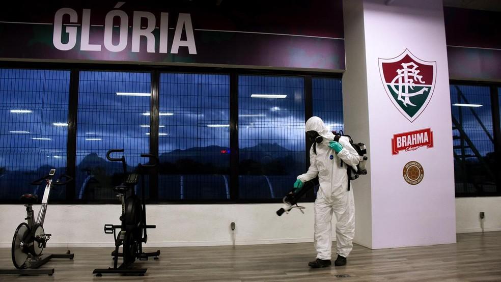 CT do Fluminense é desinfectado para a volta das atividades — Foto: FFC