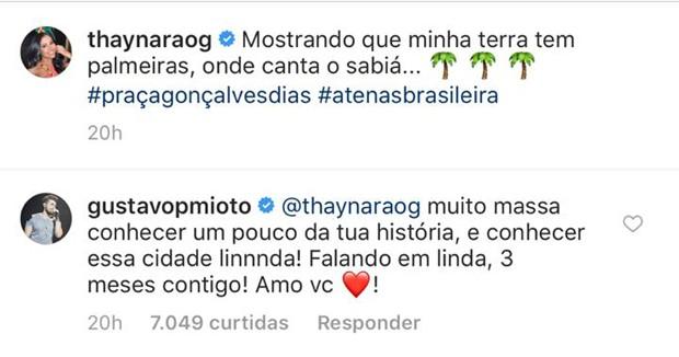 Declaração de Gustavo Mioto no post de Thaynara OG (Foto: Reprodução/Instagram)