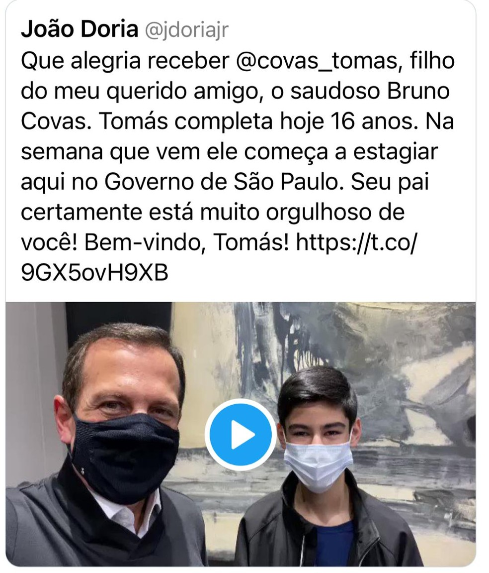 Doria anuncia contratação de Tomás Covas como estagiário no Palácio dos Bandeirantes — Foto: Reprodução