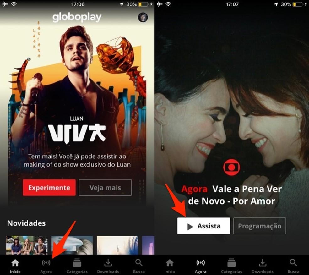 Ação para iniciar a transmissão ao vivo da Rede Globo pelo aplicativo Globoplay — Foto: Reprodução/Marvin Costa