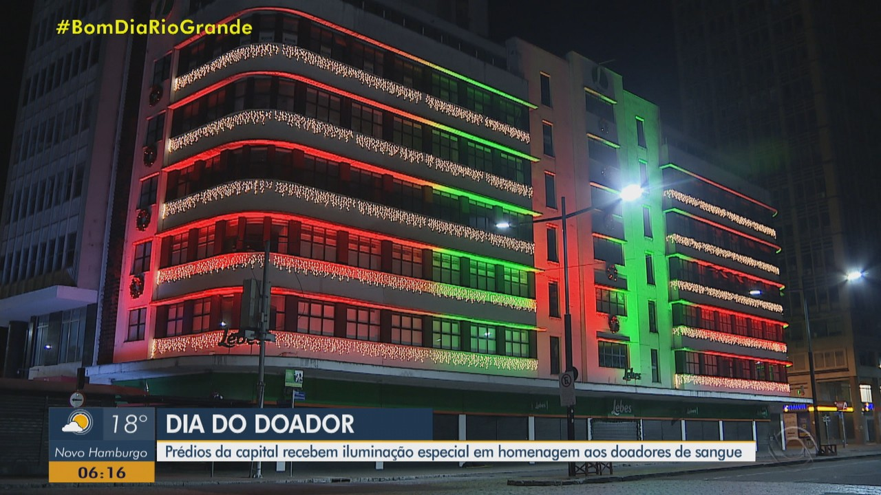 Prédios de Porto Alegre recebem iluminação especial em homenagem aos doadores de sangue