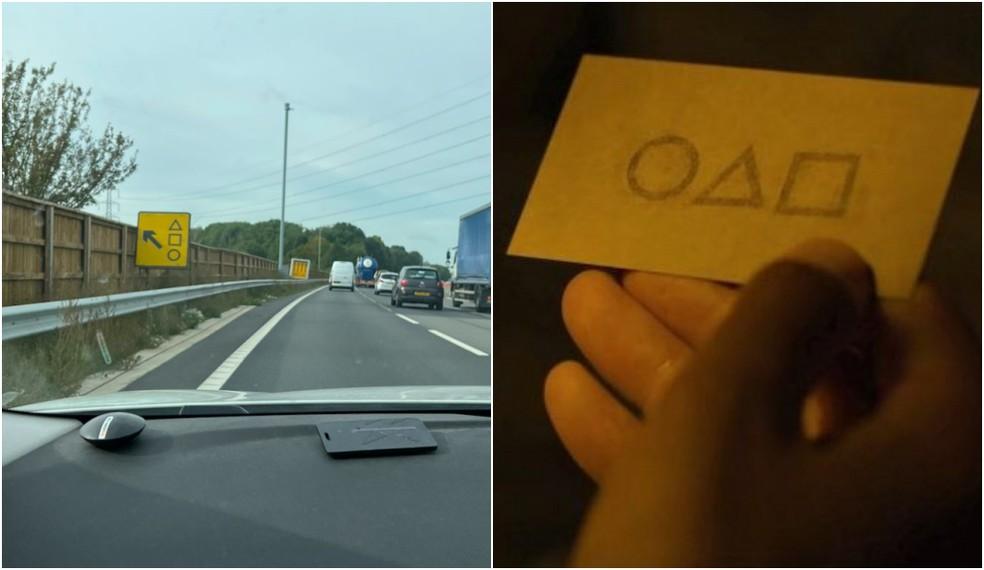 Placa em estrada do Reino Unido (esq.) e cartão da série 'Round 6' (dir.), ambas usam formas geométricas — Foto: Reprodução/Polícia de Thames Valley e Netflix