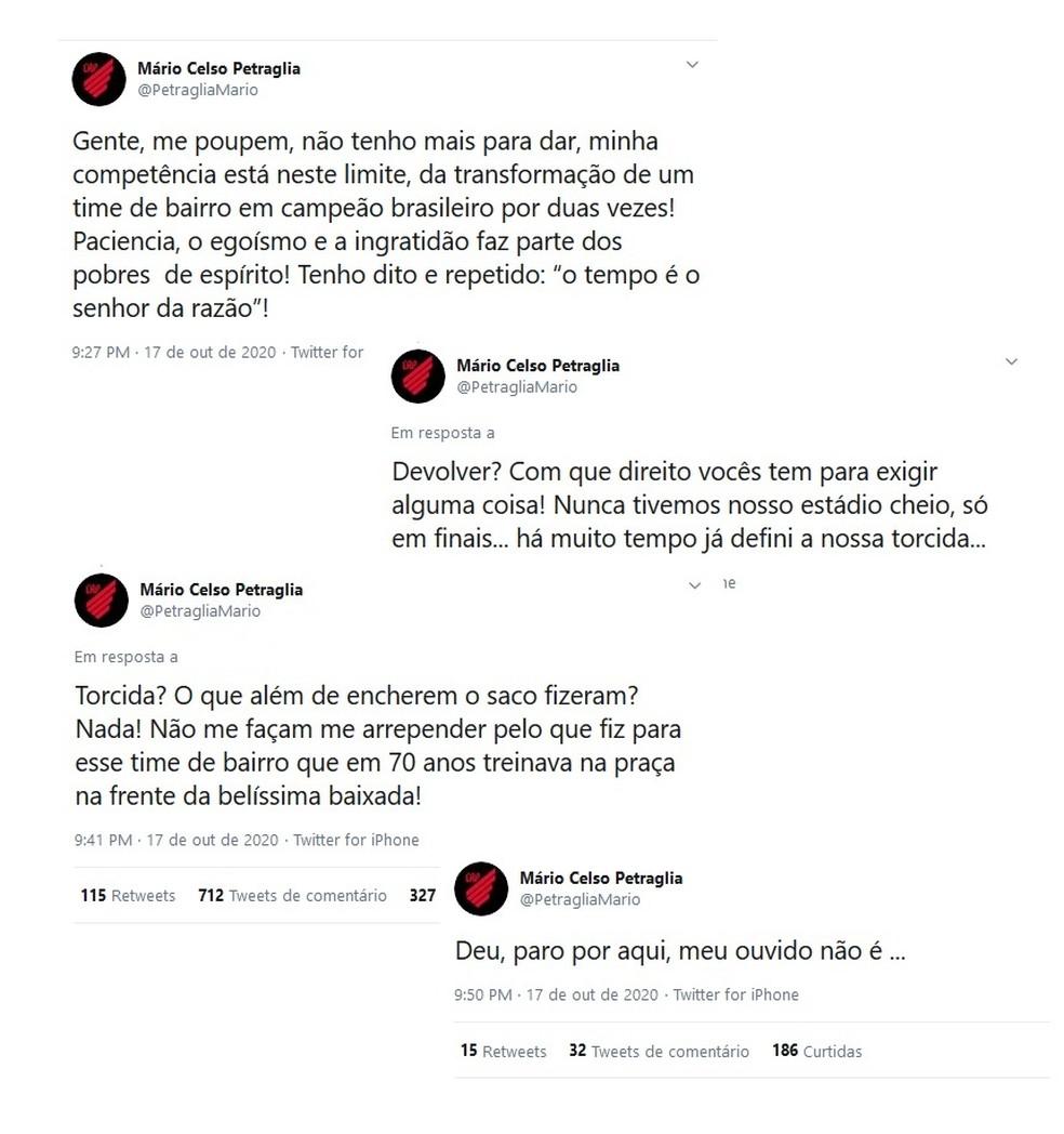 Mario Celso Petraglia desabafa contra a torcida do Athletico — Foto: Instagram