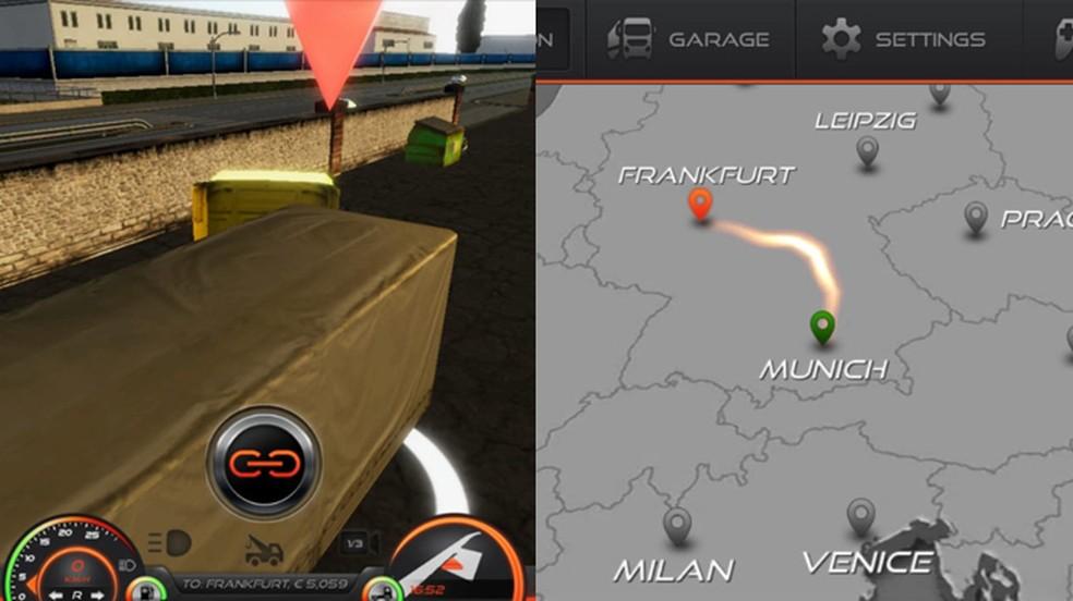 Escolha um trabalho em Simulador de Caminhão: Europa 2 e conecte-se a sua carga para realizar o serviço — Foto: Reprodução/Rafael Monteiro
