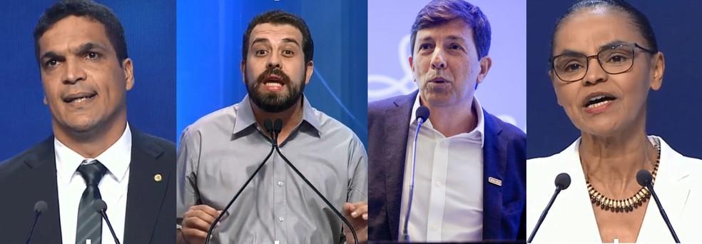 Da esq. para a dir., em ordem alfabética, os candidatos a presidente: Cabo Daciolo, Guilherme Boulos, João Amoêdo e Marina Silva (Foto: Reprodução)