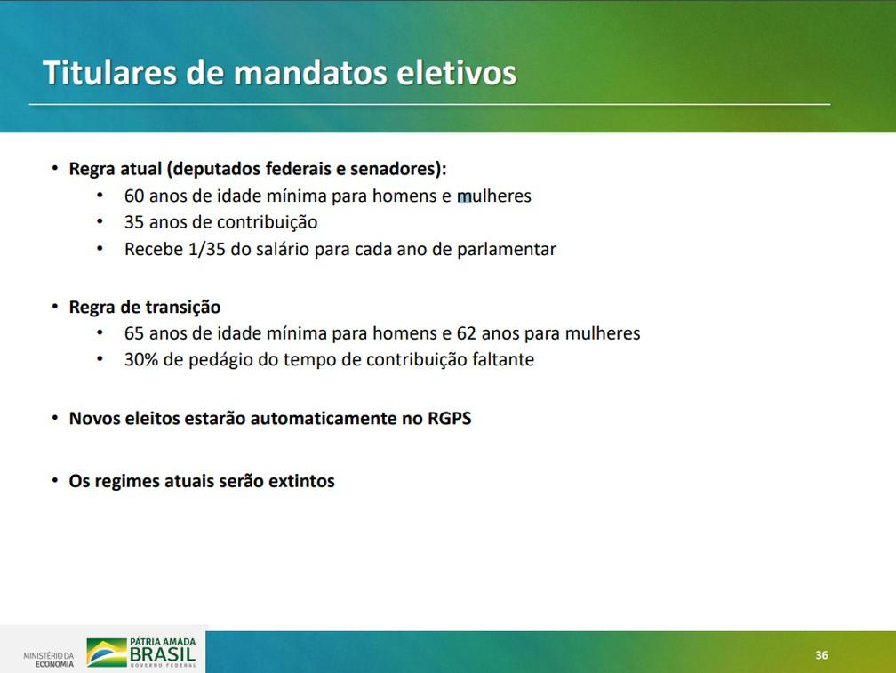 Regra para titulares de mandatos eletivos apresentada em proposta para reforma da Previdência — Foto: Reprodução/Ministério da Economia