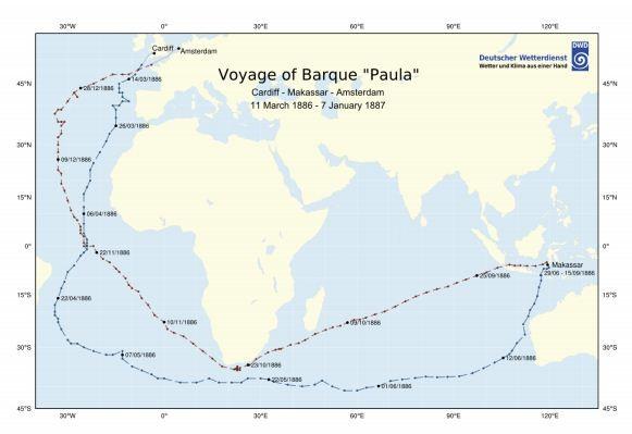 A rota feita pelo navio alemão Paula. (Foto: Western Australian Museum)