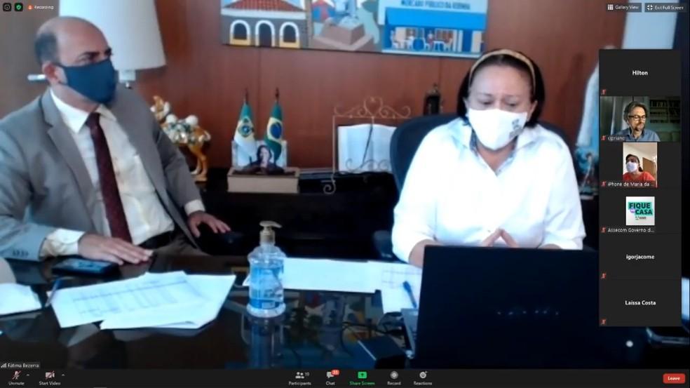 Governadora Fátima Bezerra (PT) durante entrevista coletiva em formato virtual sobre coronavírus no Rio Grande do Norte — Foto: Reprodução