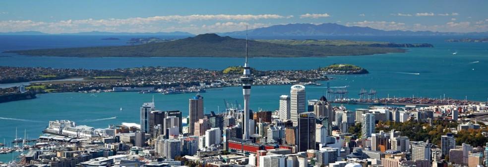 Vista de Auckland, uma das maiores cidades da Nova Zelândia — Foto: Divulgação/NewZealand.com