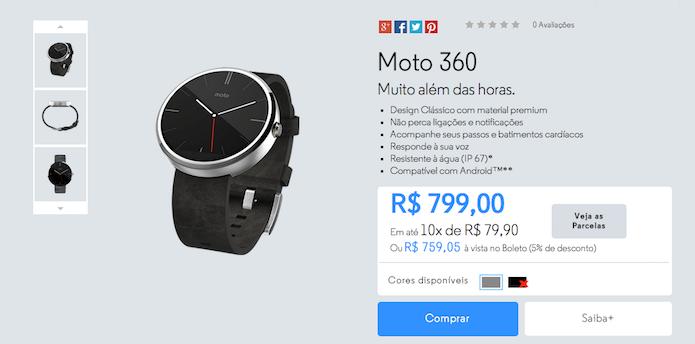 Por enquanto, o Moto 360 só pode ser comprado no site da Motorola (Reprodução)