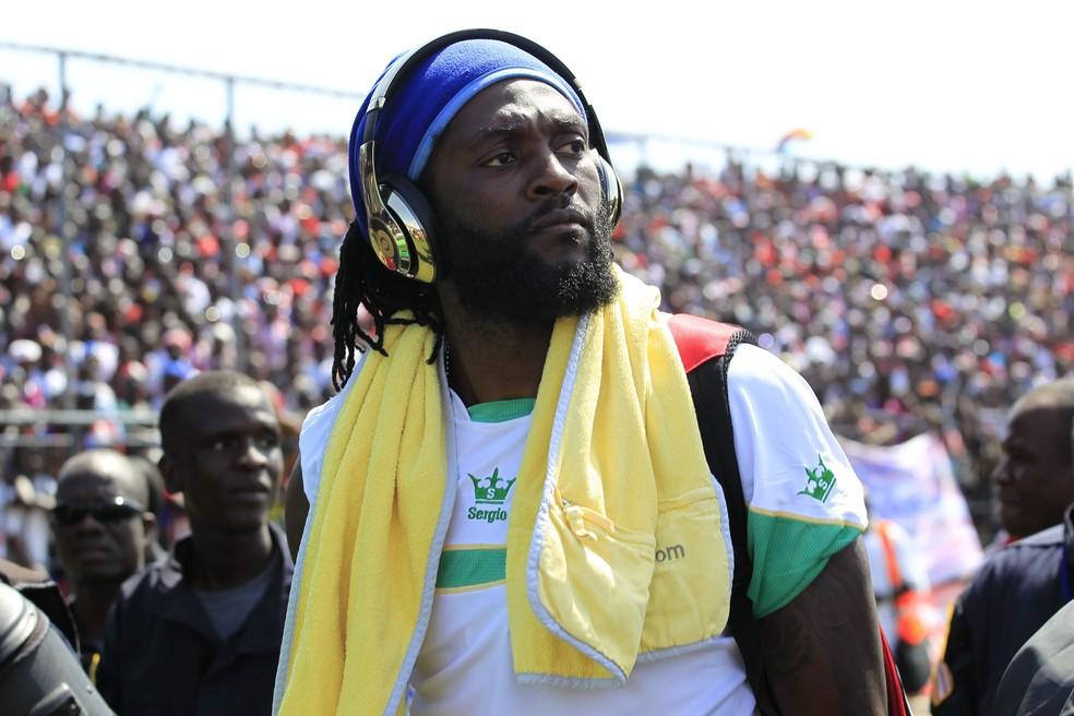 Emmanuel Adebayor  Libéria x Togo eliminatórias Copa Africana de Nações — Foto: EFE