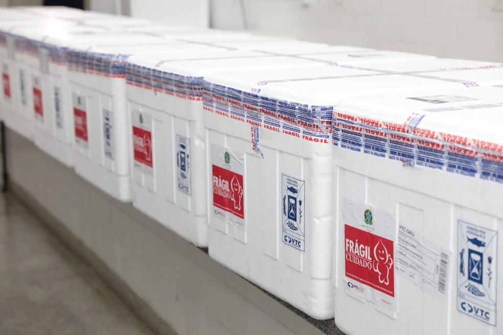 Lotes de vacina da Coronavac em Mato Grosso — Foto: Marcos Vergueiro/Secom-MT