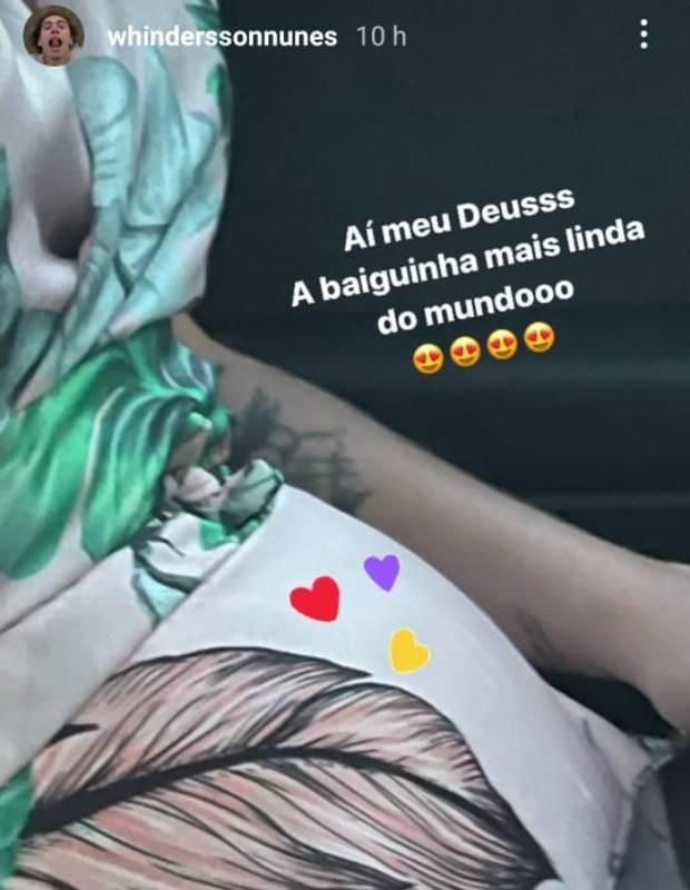 Whindersson Nunes se derrete pela barriga de grávida de Maria Lina Deggan (Foto: Reprodução/Instagram)