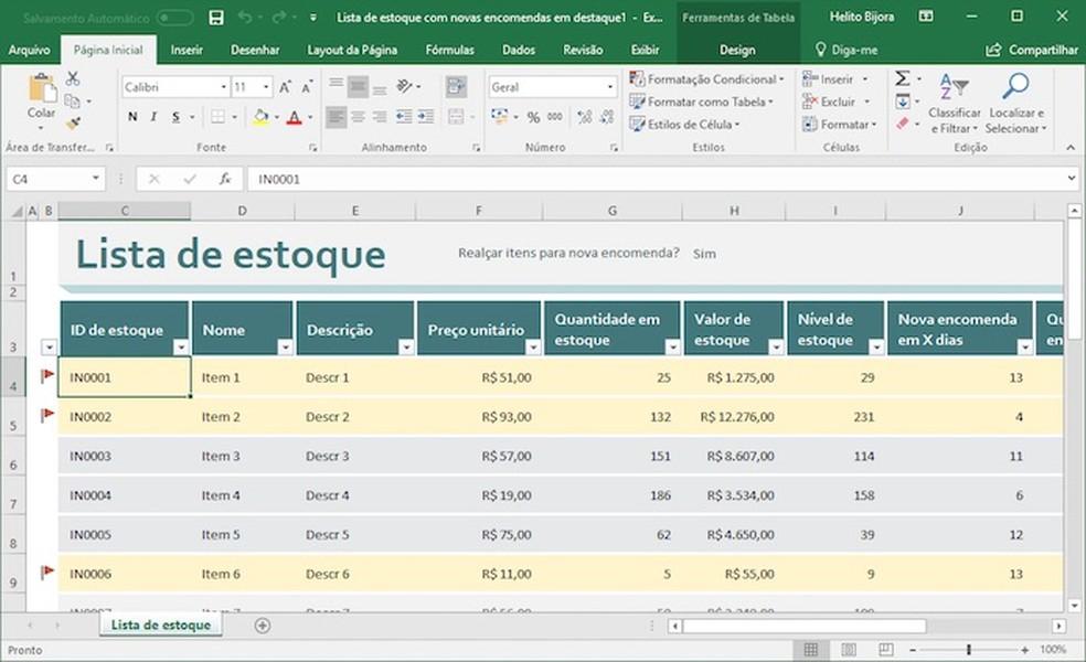 O Excel permite editar o modelo de planilha de controle de estoque à vontade (Foto: Reprodução/Helito Bijora)