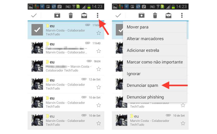 Marcando uma mensagem como spam no aplicativo do Gmail para Android (Foto: Reprodução/Marvin Costa)