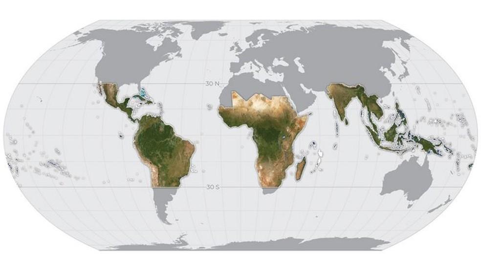 O mapa, com imagens de alta resolução, cobre 64 países, inclusive o Brasil, e será atualizado mensalmente — Foto: Planet Labs Inc