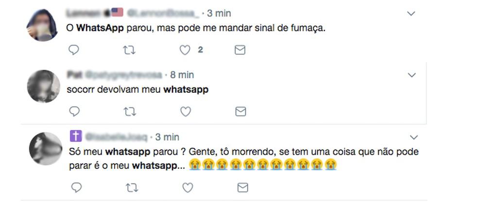 Usuários reclamam de instabilidade do WhatsApp no Twitter (Foto: Reprodução/Twitter)