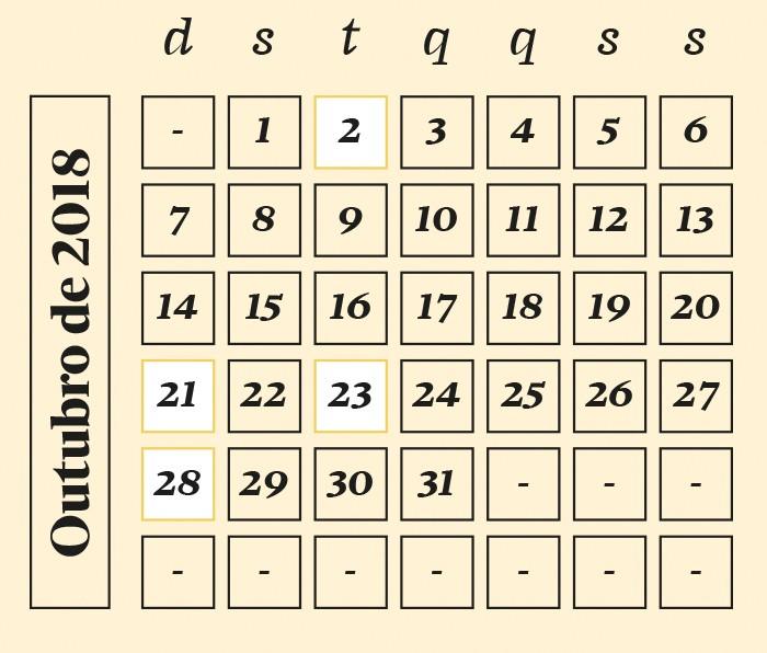Calendário de outubro de 2018 (Foto: Calendário de outubro de 2018)