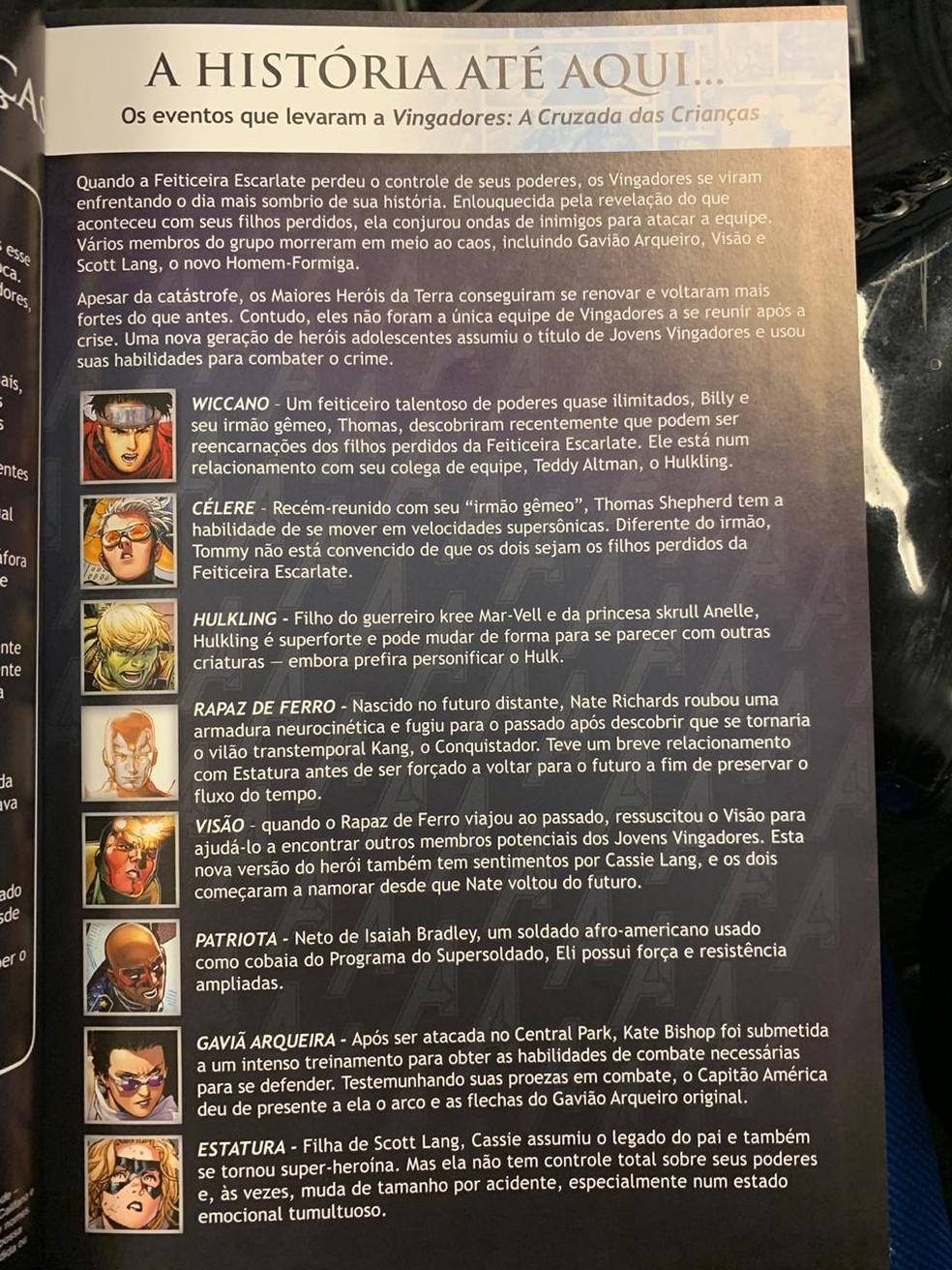 Descrição dos personagens de 'Vingadores, a cruzada das crianças', publicação no centro de polêmica na Bienal do Livro no Rio — Foto: Fernanda Rouvenat/ G1