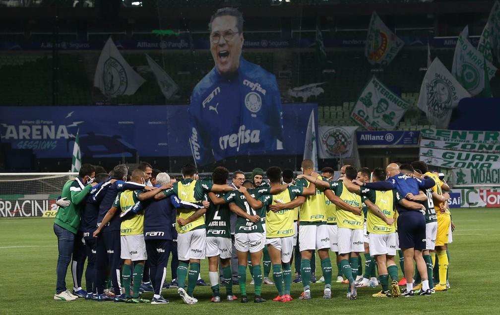 Mosaico em homenagem a Vanderlei Luxemburgo na final do Paulistão — Foto: Cesar Greco / Ag. Palmeiras