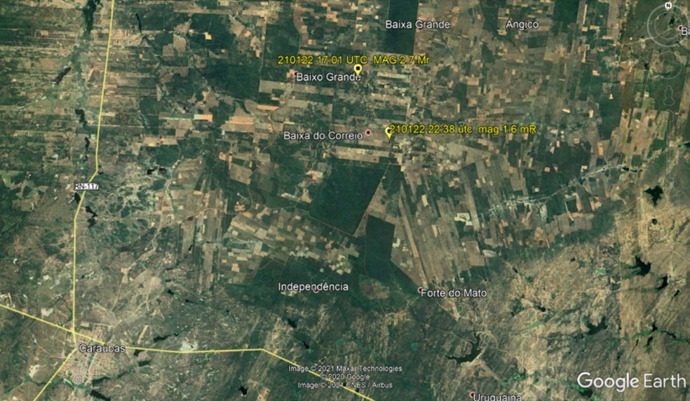 Cinco tremores de terra são registrados no município de Caraúbas — Foto: LabSis/UFRN