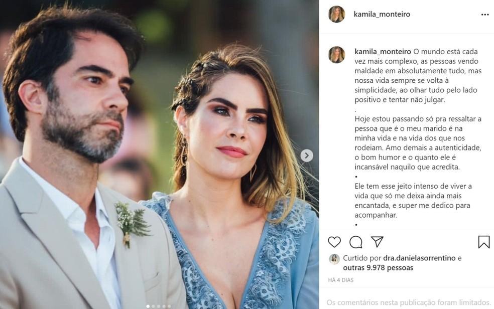 Postagem de Kamila Monteiro, esposa do médico. — Foto: Redes sociais