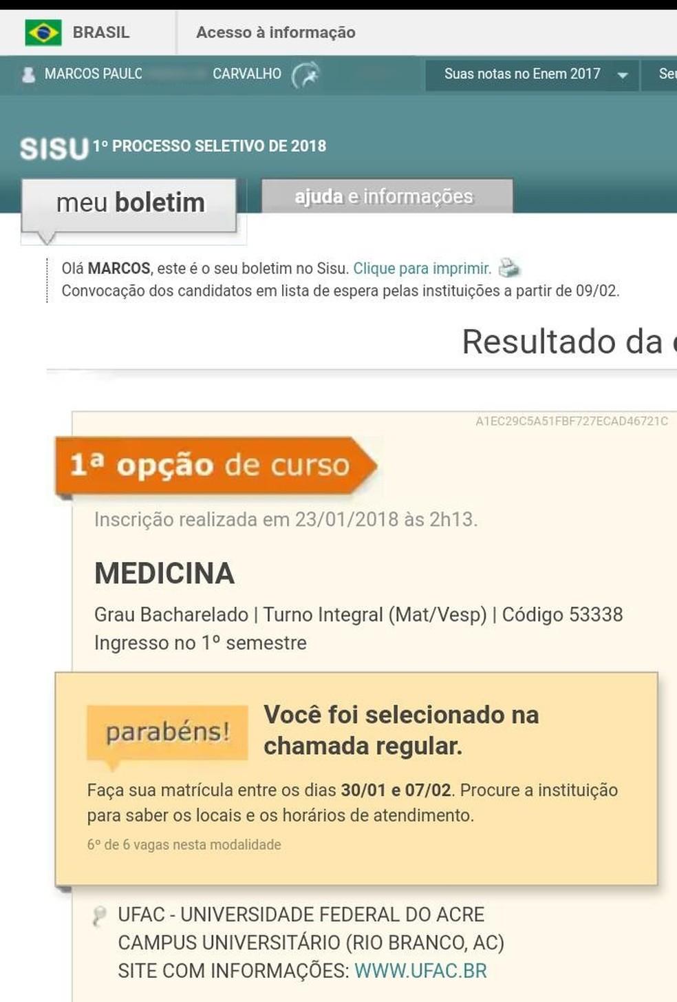 Marcos Paulo tirou nota máxima na redação do Enem 2017 e foi aprovado em medicina (Foto: Reprodução)