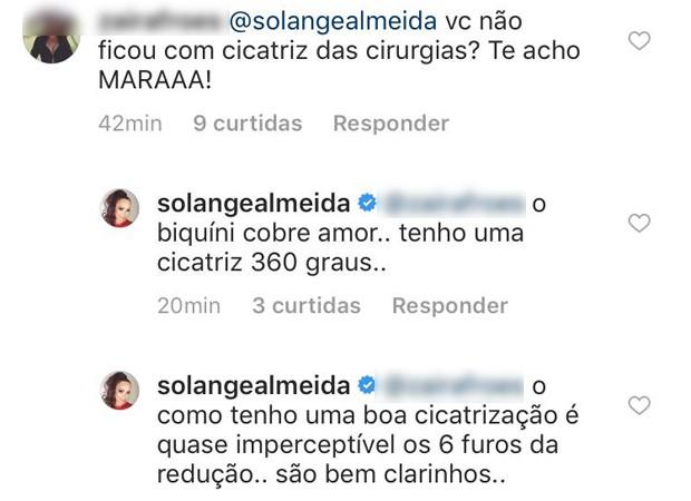 Mensagem de Solange Almeida (Foto: Reprodução/Instagram)