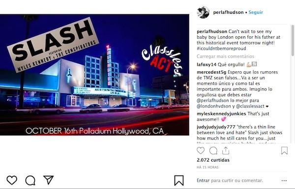 O post da ex-esposa de Slash divulgando o show do filho dos dois (Foto: Instagram)