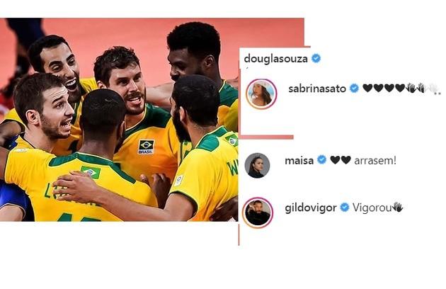 A vitória do vôlei brasileiro contra a Tunísia fez Sabrina Sato e mais famosos se pronunciarem nas redes de Douglas (Foto: Reprodução)