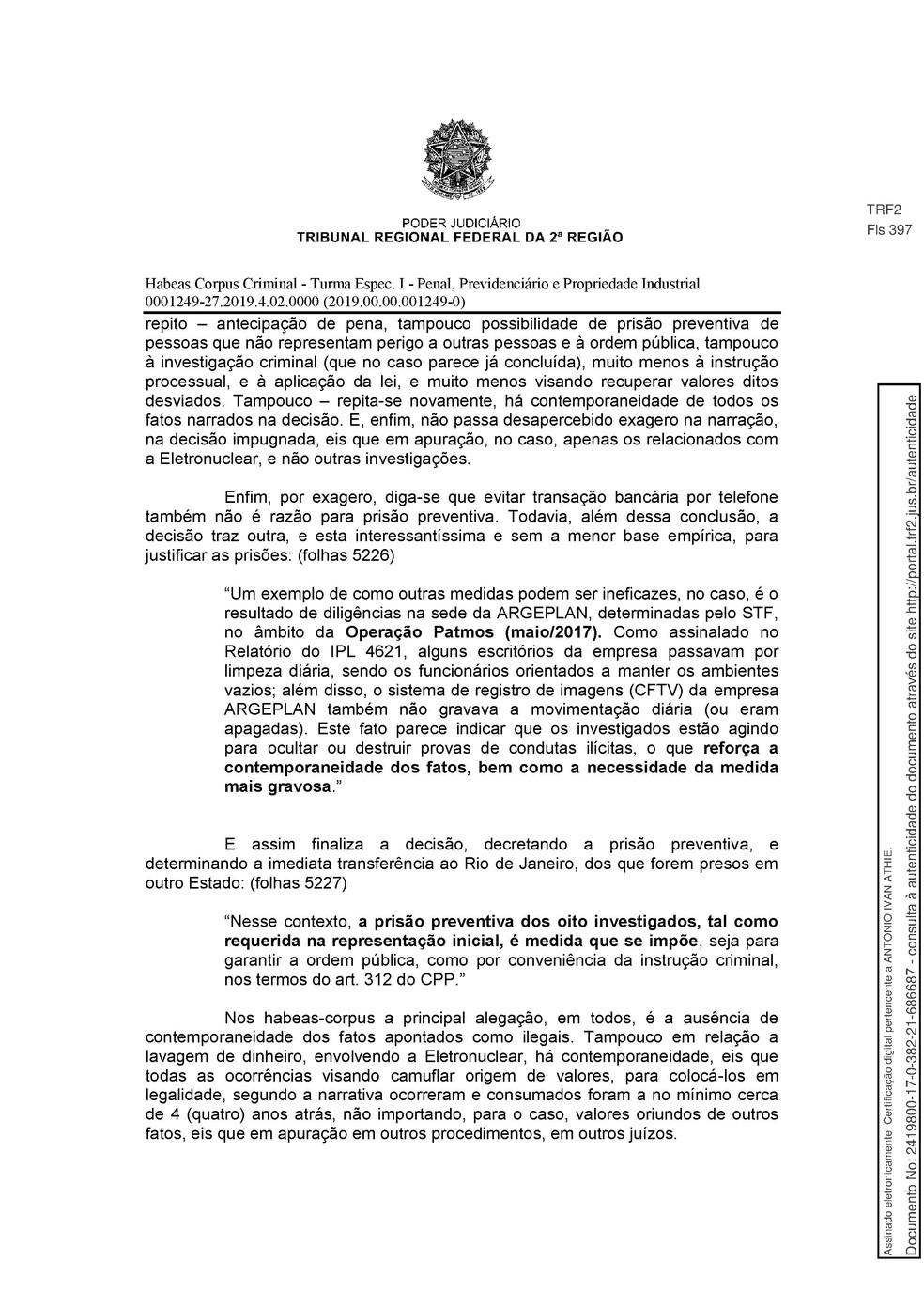 Decisão TRF-2 pg. 16 — Foto: Reprodução