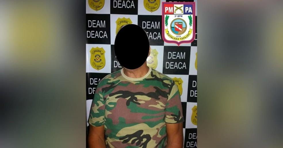 Padrinho suspeito de abusar da afilhada de 12 anos chegou a ser preso pela PM, em Santarém — Foto: Polícia Militar/Divulgação