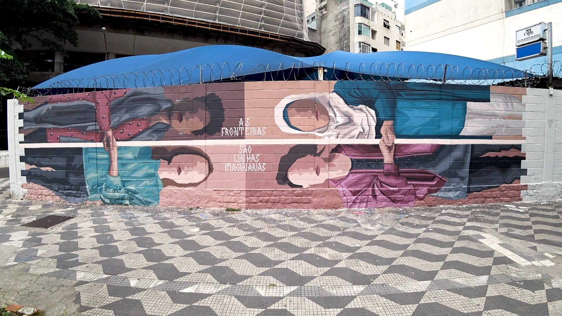 Mural pintado pela artista Florencia, em frente ao Copan, São Paulo, sobre mulheres refugiadas (Foto: Divulgação)