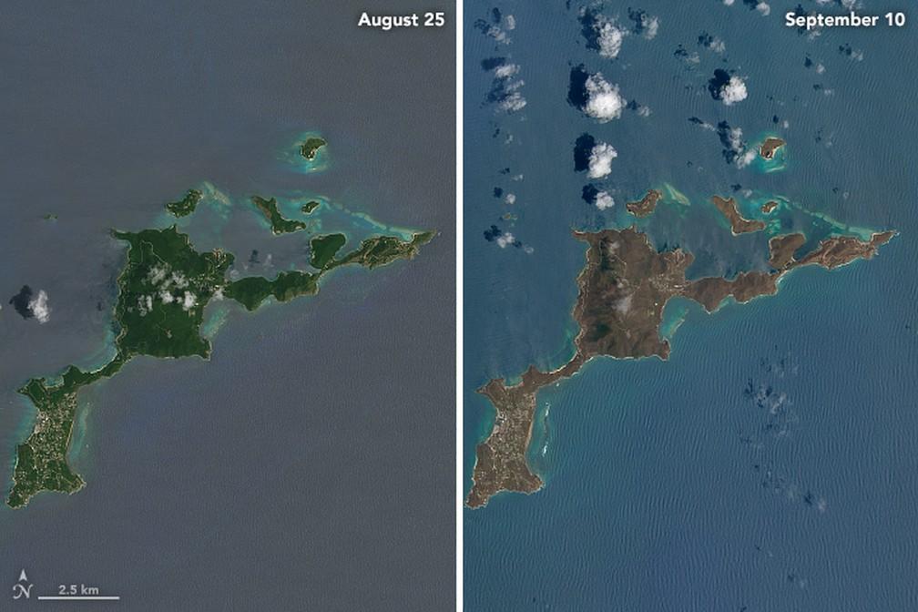 Imagens mostram efeitos de Irma na Ilha Gorda, uma das Ilhas Virgens Britânicas (Foto: Reprodução/NASA)
