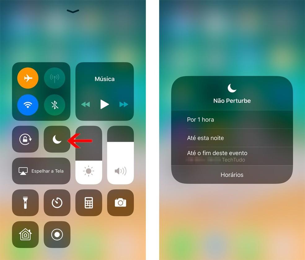 iOS 12: utilize o modo Não Perturbe por tempo limitado — Foto: Reprodução/Bruno De Blasi