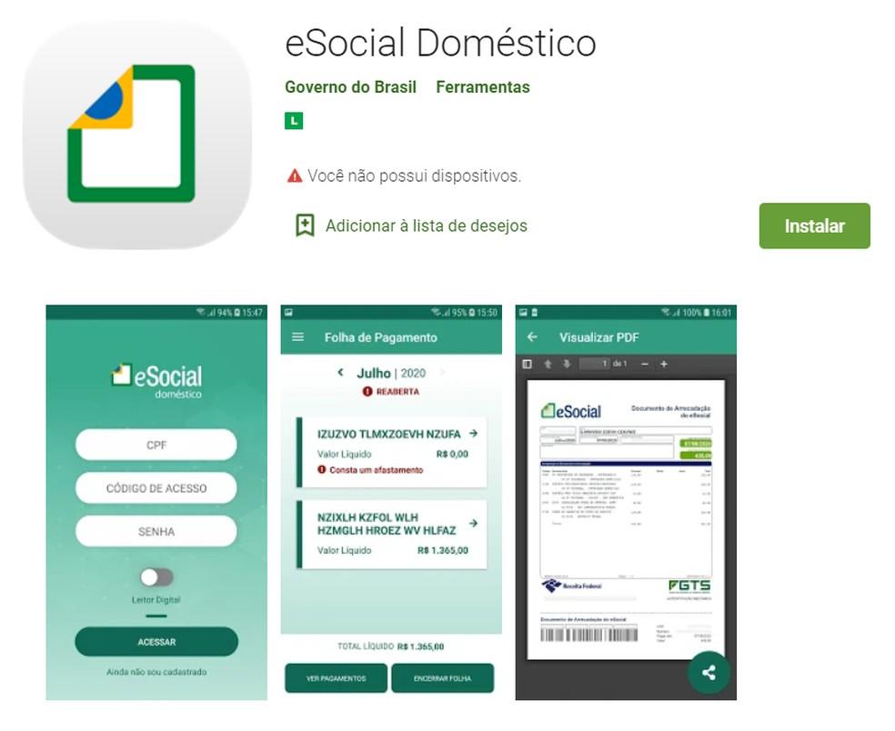 O aplicativo eSocial Doméstico destina-se aos empregadores domésticos — Foto: Reprodução