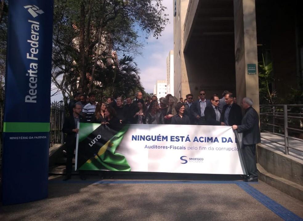 Protesto de auditores-fiscais em Campinas — Foto: Sindifisco Nacional/Divulgação