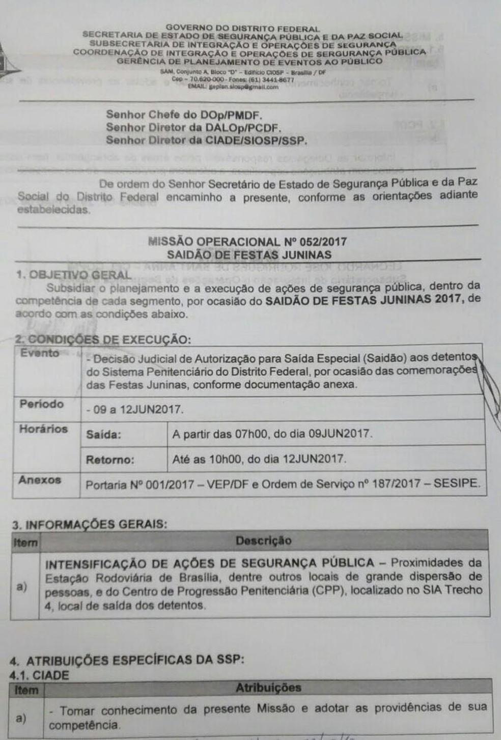 Documento interno da SSP que trata dos preparativos para o 'saidão de festa junina' (Foto: Reprodução)