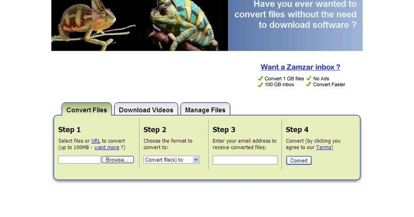 Zamzar converte arquivos por e-mail | Artigos | TechTudo