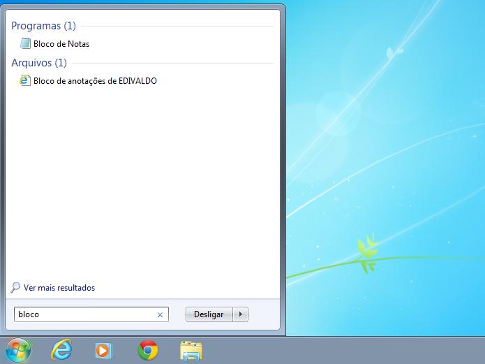 Procurando e executando o Bloco de Notas no Windows (Foto: Reprodução/Edivaldo Brito)