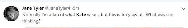 Uma das críticas à vestimenta da esposa do Príncipe William, Kate Middleton (Foto: Twitter)