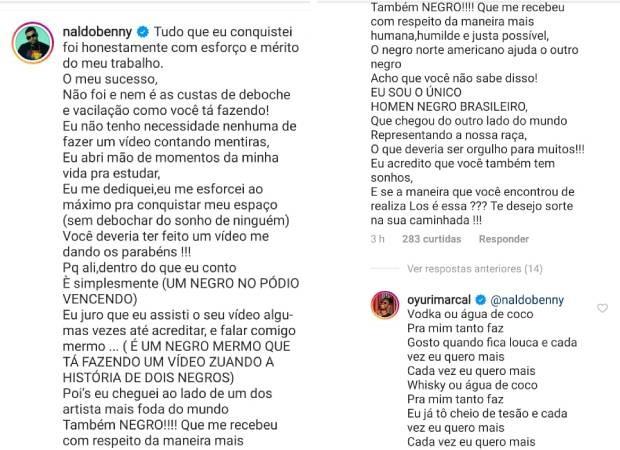 Naldo Benny comenta post de Yuri Marçal, que responde com piada (Foto: Reprodução/Instagram)