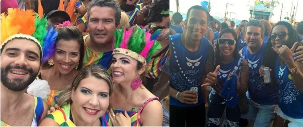 Dentista Yuri Vivas (sem cocar na primeira foto e terceira pessoa na segunda) curtindo carnaval de Salvador com amigos — Foto: Arquivo pessoal